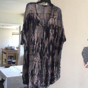 Gypsy silk tunic the dye print. Size M